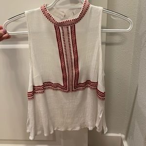 White with Red Details Top